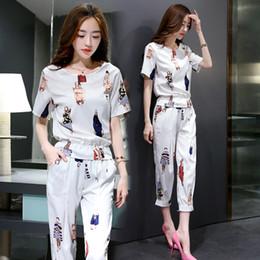28529f46c2c 2019 summer leisure print Korean fashion cotton sweatshirt pants suit women  two-piece clothing set vestido lady outfit clothes