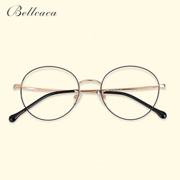 e6cbff8f2b Bellcaca Spectacle Frame Women Men Titanium Vintage Round Eyeglasses  Computer Optical Clear Lens Eye Glasses Frame Female BC795