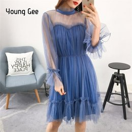 robe en maille Promotion Young Gee Dress Mode Femmes Élégant Doux Mesh Garnis De Agaric Dentelle Robes Sheer Sexy Partie Princesse Mince Printemps Robes Y19012102