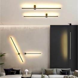 apliques de parede rústica Desconto Modern LED Wall Lamp longo luzes penduradas simples Nordic Living Room Sofa Fundo da parede Luz de cabeceira quarto Floor Lamp