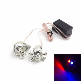 motorcycle skull turns light Coupons - chrome 2pcs 12V Universal Motorcycle Cool Skull shape Red  Blue LED number plate light license plate lamp flashing Decorative lights