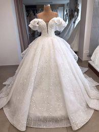 Foto real Blanco de hombro vestido de bola Organza zuhair murad Vintage vestido de boda de lujo Recepción Vestidos de novia 2019 Bling Tren largo desde fabricantes
