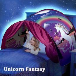 Los niños abren carpas online-Impresión de moda Niños Dream Tents Baby Pop Up Bed Tent Fantasy Cartoon Snowy Plegable Playhouse Comforting Sleeping mosquito net