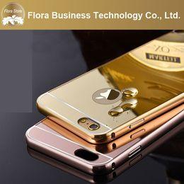 Copertura del telaio in oro iphone online-Per Apple iPhone 7 PLUS 8 X MAX Placcatura in oro Alluminio in metallo Cornice per specchio trasparente in acrilico Cover posteriore Custodie per telefono