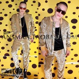 2019 champagner-samt Nachtclub Sänger DJ Tänzer Kostüme Champagne Gold Diamond Velvet Flash Hip-Hop Baseball Uniformen Bühne tragen Jacke günstig champagner-samt