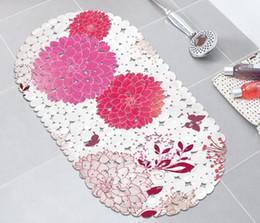 tapetes de tampa deslizante Desconto Tapete floral do banheiro da esteira do banho Tapete do chuveiro da segurança com os copos transparentes do otário do deslizamento não o otário do PVC