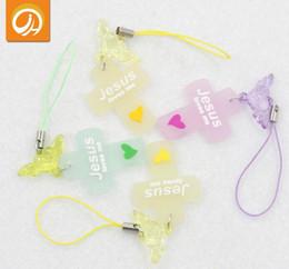 Porte-clés croisés en gros en Ligne-120pcs croix amour jésus gel de silice pendentif porte-clés perle chaîne pour hommes femmes en gros