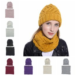 Anéis crocheted on-line-Mulher Malha Chapéus Cachecol Define Moda Quente Festa Inverno Crochet Gorro Cap menina Knit Scarves anel exterior Hat TTA1822