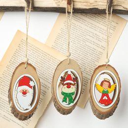 Artículos navideños online-Año nuevo Navidad Decoración del hogar Adornos colgantes DIY Artículos de Navidad Artesanía de madera Navidad Papá Noel Ciervo Colgantes para vacaciones