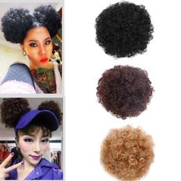 2019 парики для наращивания волос Synthetic Afro Puff Drawstring Ponytail Short Kinky Curly Hair Bun Extension Donut Chignon Hairpieces Wig Updo Hair Extensions дешево парики для наращивания волос