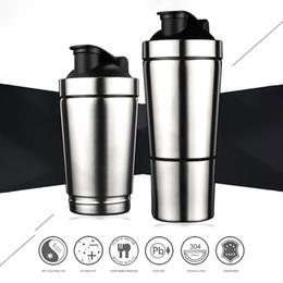 2019 metallschüttlerbecher Qualitäts-Protein-Pulver Shaker Edelstahl Shaker Sport Fitness Metall Wasser Thermal Cup Protein Blender Bottle rabatt metallschüttlerbecher