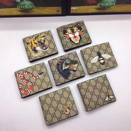 Argentina Clásico serpiente tigre abeja marrón lienzo hombres billetera con caja de mujeres de cuero genuino cartera cuadrada de cuero monedero mujeres dinero Walle Suministro