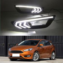 Foco diurno de luces led online-2X Para Ford Focus 2012-16 Luz del coche Lámpara diurna LED DRL Blanco Recorte decorativo DIY