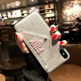 telefon glitter Rabatt Luxus ROSA Nagelneu Glitter Stickerei Leder Mode Hot Cute Pink Fall für iPhone 7 Plus 7 + 8 Plus 6 6s Plus X XR XS MAX Phone Cases