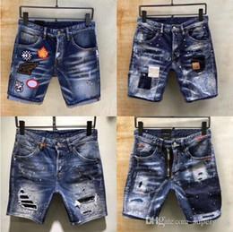 Mens Distress Ripped Skinny kurze Jeans Modemarke Designer Motorrad Biker Denim Hip Hop Shorts für Männer hohe Qualität D62