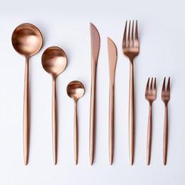 Conjunto de Louça de Ouro rosa Talheres Garfo Faca Colher Fosco Rose Gold Western Metal Aço Inoxidável Faca de Jantar Garfo Talheres de Fornecedores de ferramentas de cozinha para crianças