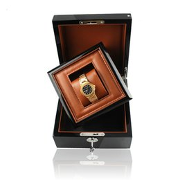 custom wood gifts Coupons - Luxury Business Gift Wood Watch Box In Box With Key Wooden Pu Leather Inner Promotion Case Business for Brand Watches Custom