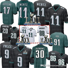 639acc502e3 9 Nick Foles 11 Carson Wentz Philadelphia Eagles Jersey Mens 86 Zach Ertz  91 Fletcher Cox 30 Clement 20 Dawkins 31 Mills Jenkins Jerseys philadelphia  eagles ...