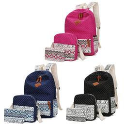 1cbdf6455e 3 pcs / ensemble Polka Dot Impression Femmes Sac À Dos Mignon Léger Toile  Bookbags Middle High School Sacs Sac À Dos pour les Adolescentes