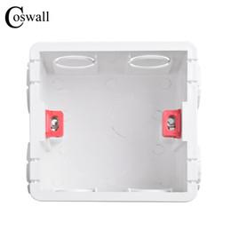 2019 adaptador jack 12v Caixa de montagem ajustável Coswall Cassette interno 86 mm * 83 mm * 50 mm para 86 tipo Switch e soquete branco / cor vermelha caixa de fiação