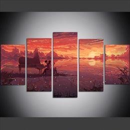 Argentina 5 unidades de gran tamaño lienzo Wall Art Pictures Piano creativo, Sunset Anime impresión del arte pintura al óleo para sala de estar cheap oil painting piano Suministro