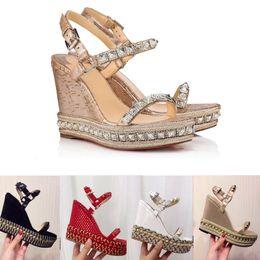 fe5d6452f62 Diseñadores Plataforma inferior roja Sandalias de cuña Zapatos de alpargata  Tacón alto para mujer Sandalias de verano Plateado cubierto con purpurina  de ...