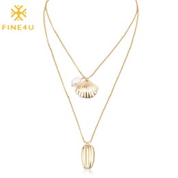 sea shell pearl pendant Coupons - FINE4U N197 Summer Beach Jewelry Multi-Layer Natural Sea Shell Pearl Pendant Necklace Long Chain Necklaces 2019 New Boho Jewelry