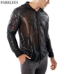 294ef650dfc Прозрачная блестящая блестящая мужская рубашка 2018 New Sexy See Through  Chemise Homme Ночной клуб Этап Пром Танцевальная рубашка Мужской Camisa