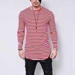 2019 camiseta rayas negro para hombre Oversized 5xl T Shirt Men Black O Neck Hombres camiseta de manga larga a rayas de impresión Streetwear camisa Casual para hombre ropa camiseta rayas negro para hombre baratos