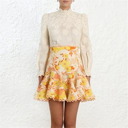 sexy lace outfits Coupons - 2019 Spring Vintage Women Two Piece Outfits Wave Ruffle Solid Long Sleeve Blouse Floral Print Ruffles Elegant Mini Skirts