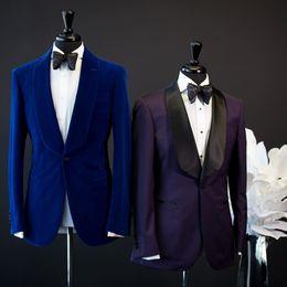 Uomini vestito di nozze viola online-Primavera Estate Custom Made Royal Blue Viola Abiti da uomo Abiti da sposa Slim Fit Due pezzi Smoking Best Man Suit (Giacca + Pantaloni) Scialle Risvolto