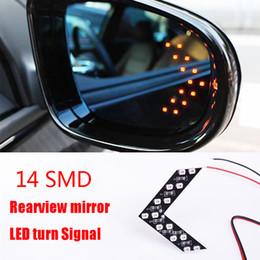 La luce del segnale principale dello specchio laterale online-1Pair Car Hidden Freccia Pannello 14 SMD 3528 retrovisore laterale specchio LED decorativo Luci di retromarcia Direzione Lampeggiatore