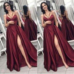 Barato Sexy Rojo Más Tamaño Vestido De Fiesta Largo 2019 Cuello En V Correas De Espagueti Borgoña Sin Espalda Barrido Tren Vestido Formal Vino