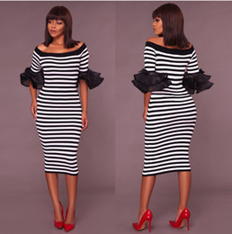 Vestidos de ebay online-Vestido clásico con rayas blancas y negras en los hombros de Amazon eBay