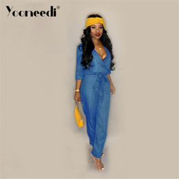 f8554755dfc Yooneedi 2019 Summer New Arrival Casual Women Denim Jumpsuits Color Solid  V-Neck Full Sleeve Ladies Rompers Y-5078
