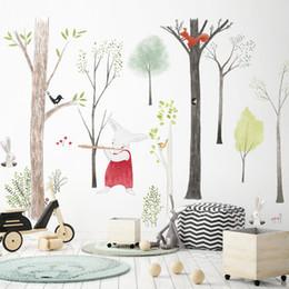 große waldtieraufkleber Rabatt 87 * 140 cm Große Nordischen Stil Tier Kinder Wandaufkleber Cartoon Baum Wald Kinder Baby Room Wall Decal Poster