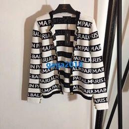 traje a medida contraste Rebajas De gama alta mujeres niñas de doble botonadura chaqueta de punto chaquetas de rayas botones en relieve camisa casual blusa diseño de moda personalizado de lujo superior