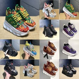 ladies creams Promo Codes - Fashion Luxury Designer Sneaker Chain Reaction Casual Ladies Shoes Mens Womens Fashion District Medusa Link-Embossed Sole Trainer