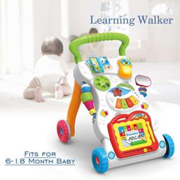 Bebê sentar brinquedos on-line-Brinquedos do bebê Aprendizagem Walker Music Stand Atividade Painel Sit Play Center Criança Andador Andador Com Rodas Andando Brinquedo Assistente
