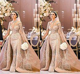 2019 vestido de noiva lindo trem destacável Árabe Dubai Manga Longa Vestido de Noiva Lindo Pescoço Alta 2019 Sereia Rendas Apliques de Trem Destacável Vestido De Noiva vestido de noiva vestido de noiva lindo trem destacável barato