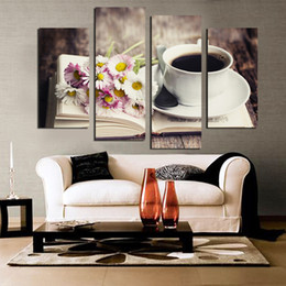 tea wall decor Promo Codes - Free shipping 4 piece Flower Coffee Tea Modern Canvas Print Painting Wall Art modular pictures Decor For Kitchen Room Unframed