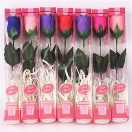 pajarita metálica Rebajas Nuevos regalos de san valentín Artificial rosa cabezas de flores de seda solo jabón rosa con polvo en polvo decoración para banquete de boda decorativos