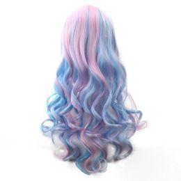 Soowee 70 cm Lange Frauen Haar Ombre Farbe Hochtemperaturfaser Perücken Rosa Blau Kunsthaar Cosplay Perücke Peruca Pelucas von Fabrikanten