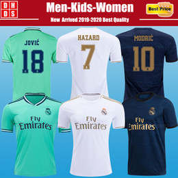 2019 2020 Real Madrid HAZARD Soccer Jerseys Kit футбольные майки «Реал Мадрид» 19 20 ОПАСНОСТЬ MILITAO MODRIC BALE SERGIO RAMOS футболки детские camisa от Поставщики ronaldo белый длинный трикотаж