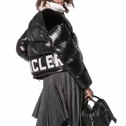 Veste zippée à col roulé en Ligne-Automne Hiver 2019 nouveau manteau de fermeture des femmes Lettres à col roulé vers le bas de veste chaude outwear