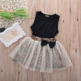 2019 vestidos de impressão de leopardo para crianças New Hot Kids Baby Girl dress Sem mangas Gola Redonda Top Leopard Print Mesh Dress 2 Pcs Terno Roupa Vestidos desconto vestidos de impressão de leopardo para crianças