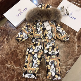 macacão de urso bebê Desconto Bebê jaqueta crianças roupas de grife inverno novo bebê para baixo macacão urso design ganso plumas macacões cheios
