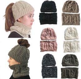 fb7a5dfe9d6 2Pcs Set Women Men Winter Beanies Hat+Neck Warmer Solid Color Cycling Hat  Mask Scarf Set Knitting Thermal Cap Fashion Soft Hat