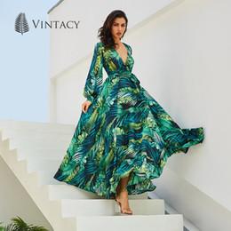 vintage maxi dress xs Desconto Vintacy manga comprida dress praia tropical do verão maxi vestidos vintage boho casual v neck belt lace up túnica drapeado plus size dress