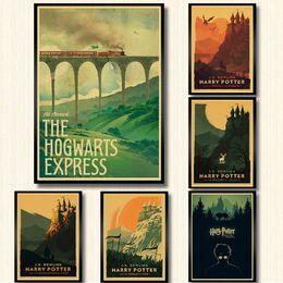 2019 pinturas a óleo copos de vinho Cartaz Hogwarts Express Beco Diagonal Hogsmeade papel kraft arte da parede do cartaz da pintura cartazes casa decoração adesivo de parede
